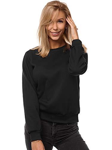 OZONEE Damen Sweatshirt Pullover Langarm Farbvarianten Langarmshirt Pulli ohne Kapuze Baumwolle Baumwollmischung Classic Basic Rundhals-Ausschnitt Sport JS/W01 SCHWARZ M