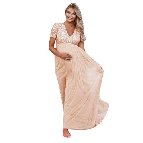 Vovotrade elegante jurk met pailletten, V-hals, korte mouwen, fotografie, feestelijk, zwangerschap, maxi-jurk X-Large roze