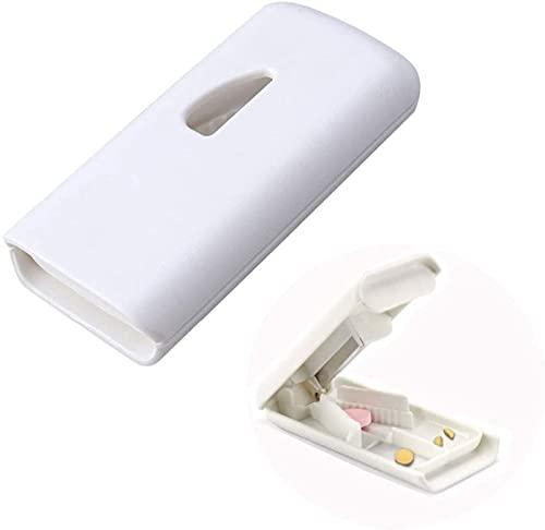 EWANTO Tablettenteiler Tablettenspalter Pillenschneider mit Edelstahlklinge und Aufbewahrungsfach (weiß)