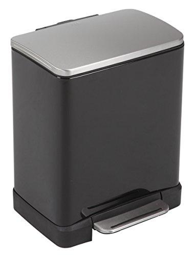 EKO E-Cube 12 L Tritt-Mülleimer, Metall, matt schwarz, 26 x 29 x 36 cm