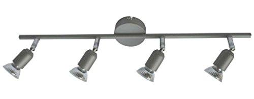 Halogen Hochvolt Strahler Spot Linos 4 flg. titan inkl. Leuchtmittel 4 x 50 W Deckenlampe Deckenleuchte