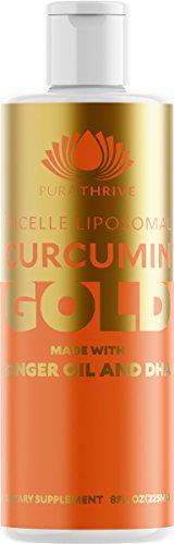 PuraTHRIVE Curcumin Gold Liposomal Curcumin Supplement with DHA and Ginger Oil by PuraTHRIVE. Micelle Liposomal Delivery for Maximum Absorption. Vegan, GMO Free, Made in The USA.
