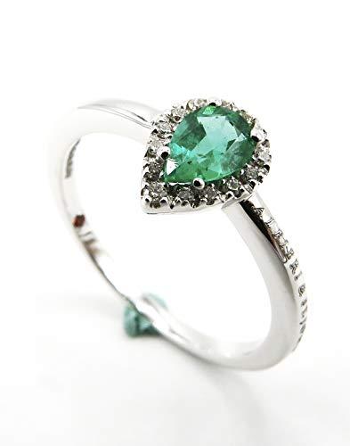 Alfieri & St.John Anillo con esmeralda corte gota de 0,45 ct y diamantes de corte brillante con un peso total de 0,07 ct