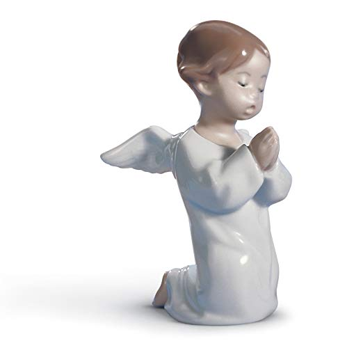 LLADRÓ Figura Ángel Orando. Figura Ángel de Porcelana.