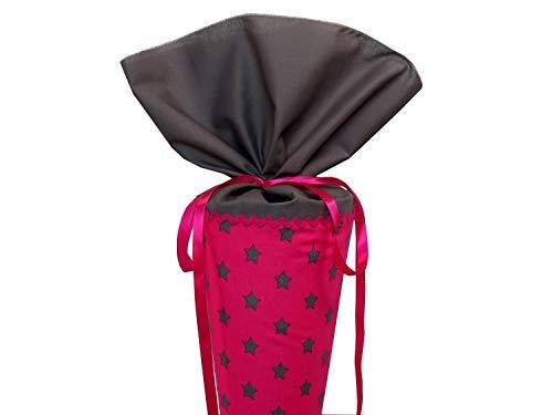 Schultüte aus Stoff in pink und grau mit Sternen Zuckertüte für Mädchen