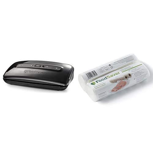 FoodSaver FFS002X Envasadora al vacío, 140 W, plástico, Negro + 2001 FSR2002-I envasado al vacío, 2 Rollos de 20 x 6.70 cm, 20 cm x 6.7 m