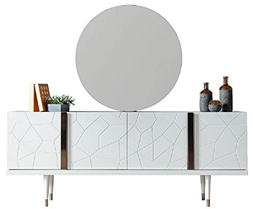Casa Padrino Conjunto de Muebles de Lujo Blanco/Cobre - 1 Aparador con 4 Puertas y 1 Espejo - Muebles Modernos de Madera Maciza - Colección de Lujo