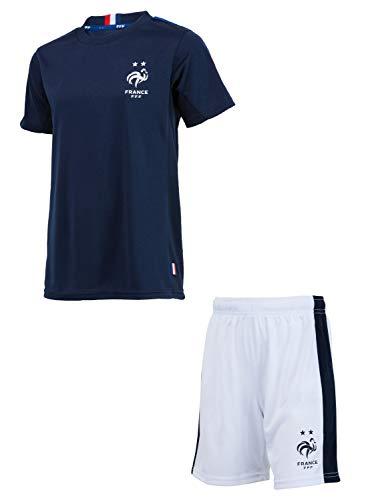 Equipe de FRANCE de football Ensemble Maillot + Short FFF - Collection Officielle Taille Enfant garçon 10 Ans