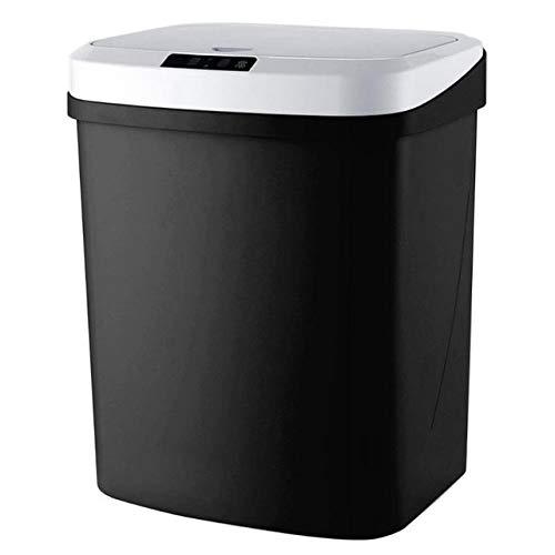 Mdsfe Bote de Basura eléctrico Inteligente con Carga USB, contenedores de Basura de inducción Inteligentes para el hogar, Cocina, baño, Sala de Estar, Bote de Basura-Negro