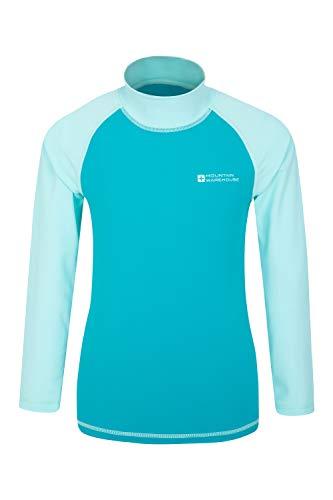 Mountain Warehouse Badeshirt für Kinder - Schwimmshirt mit UV-Schutz, Schnelltrocknendes Rash Guard Stretch, Langarmshirt für Kinder, Flache Nähte Blaugrün 9-10 Jahre