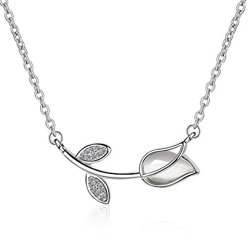 Collar de plata de ley 925 con dije de flor de cristal, collar llamativo para mujer, colgante elegante, gargantilla de joyería de boda