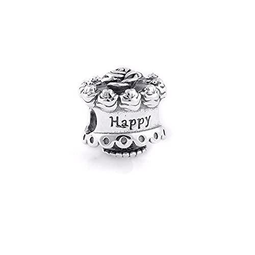 LIIHVYI Pandora Charms para Mujeres Cuentas Plata De Ley 925 Regalo De Joyería De Pastel De Feliz Cumpleaños Compatible con Pulseras Europeos Collars