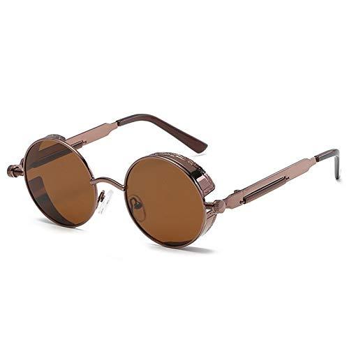 Vasko - Gafas de sol redondas de metal para hombre y mujer, estilo retro vintage, gafas de sol Uv400 (marrón)