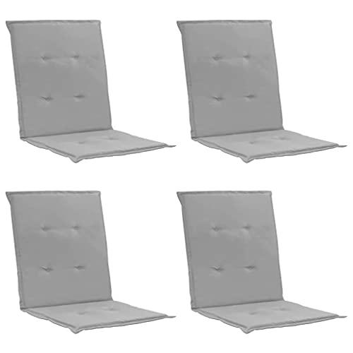 vidaXL 4X Gartenstuhl Auflage für Niedriglehner Kissen Sitzkissen Stuhlkissen Polster Stuhlauflage Sitzauflagen Sitzpolster Grau 100x50x3cm