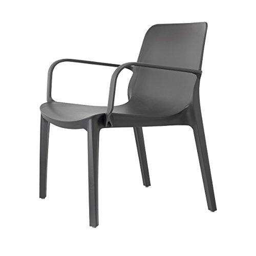 Scab Design Stuhl Modell Genf Lounge aus Technopolymer Set 2-teilig - erhältlich in 3 Farben - für Innen- und Außenbereich (Anthrazit)