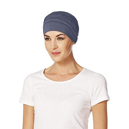 Gorro Yoga con bambú de color azul para quimioterapia