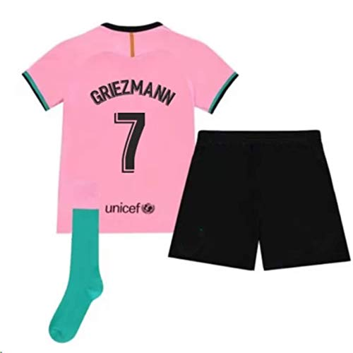ARCADI 2020-2021 Kids/Youths Third Soccer Jersey/Short/Socks Colour Pink (Barcelona Griezmann #7(8-9years/size24))