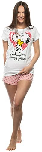 Brandsseller Pijama corto de dos piezas para mujer, 100 % algodón, conjunto con motivos en estilo de Snoopy Color blanco y rosa. L corto