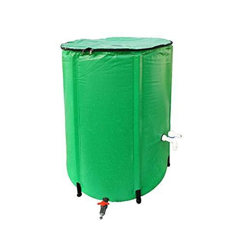 Phrat Barril de lluvia plegable, con protección contra desbordamiento y grifo, depósito de agua de lluvia con rejilla de entrada de agua, inoxidable y resistente a la intemperie para el jardín