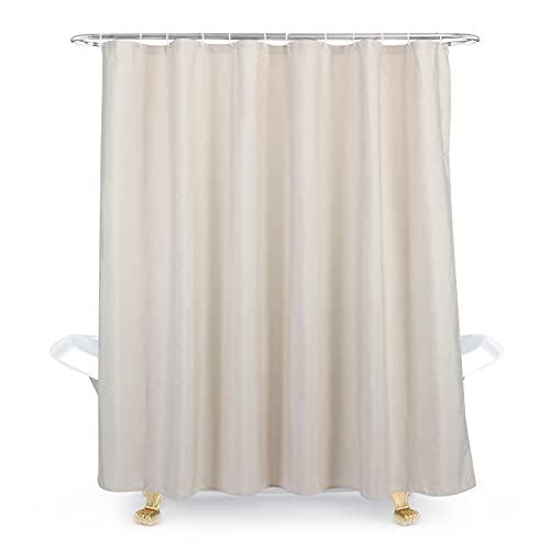 Cozy Planet Duschvorhang mit Haken, 100 prozent Polyester, wasserdicht, maschinenwaschbar, langlebig, leicht zu pflegen, 182,9 x 182,9 cm, Beige