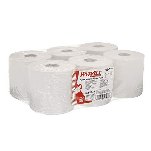 WYPALL* L10 Extra Paños Dispensación Central Roll Control 7490 - 6 rollos x 630 paños de color blanco y 1 capa