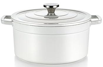 T-fal E63046 Enamel Cast Iron Nonstick Dishwasher and Oven Safe Stock Pot Cookware 6-Quart White