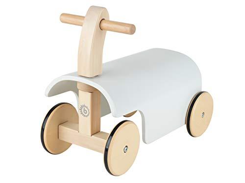 Bieco Rutschauto Holz | weiß | Modernes Holz Rutschfahrzeug ab 1 Jahr | Holz...