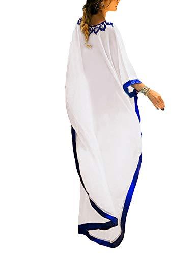Bsubseach Frauen weiß bestickte Chiffon Bademode türkischen Kafdan Badeanzug deckt Kaftan Beach Dress