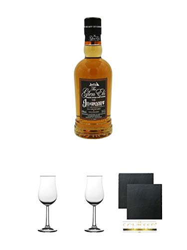 The Glen Els Journey Harzer Single Malt Whisky 0,35 Liter (kein Jahrgang) + 2 Bugatti Nosing Gläser mit Eichstrich 2cl und 4cl + 2 Schiefer Glasuntersetzer eckig ca. 9,5 cm Ø