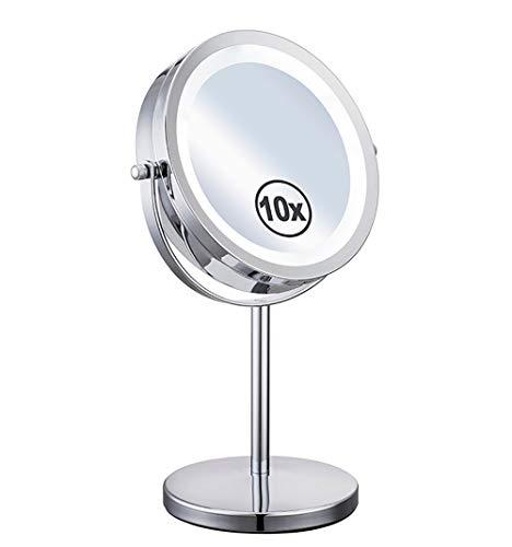 Miroir Maquillage Grossissant X10 Lumineux, Miroir De Table 360 ° Horizontal Pivotant Et Vertical Charge par Batterie Doubleface pour Les Filles