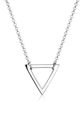 Elli Halskette Elli Damen Halskette mit Geo Dreieck Anhänger Minimal in 925 Sterling Silber 45 cm lang