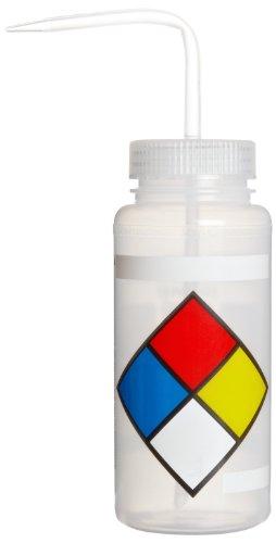 SP Bel-Art Safety-Labeled 4-Color LYOB Wide-Mouth Wash Bottles; 500ml (16oz), Polyethylene w/Natural Polypropylene Cap (Pack of 4) (F11716-0009)