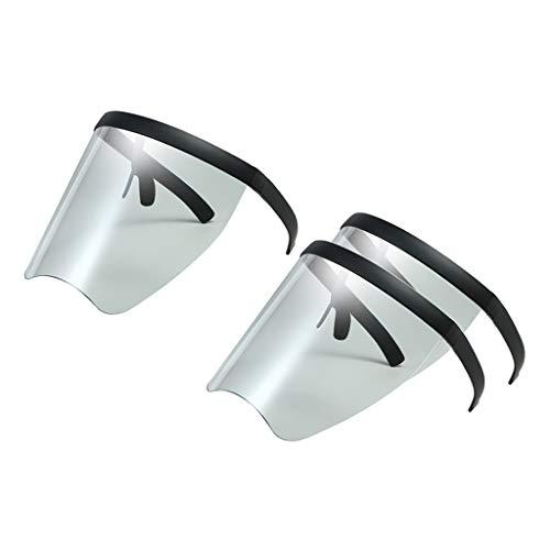 Colcolo Visera Plana de Gafas de Sol Transparentes Reutilizables con Protector Facial de Gran Tamaño de 3 Piezas