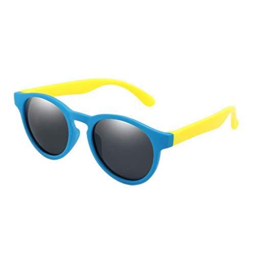UKKD Gafas de sol hombre Colorido Flexible Niños Gafas de sol Polarizadas Niños Niñas Redondo Gafas de Sol Niño Gafas de Silicona Gafas Uv400