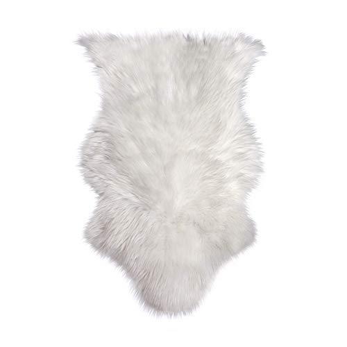 Alfombra de piel de oveja blanca falsa | Alfombra de piel suave | Alfombra 60cm x 90cm | Alfombra antideslizante para sala de estar | M&W