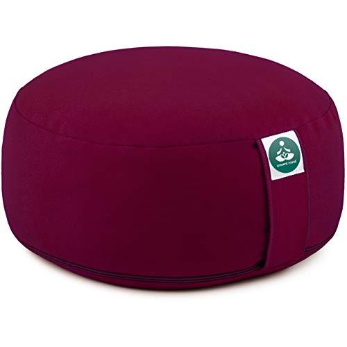 Present Mind Meditationskissen - Yogakissen Rund Zafu - Hergestellt in der EU - Sitzhöhe 16 cm - Waschbarer Bezug - 100% Natürliche Yoga Sitzkissen (Burgund)