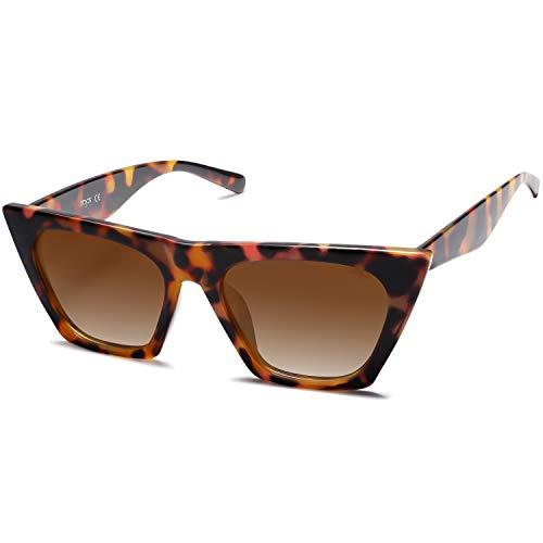 SOJOS Occhiali da Sole da Donna Polarizzati Retrò Cateye Fashion Style Sunnies Bella SJ2115 (C02 Montatura Leopardata / Lenti Marrone Sfumato)