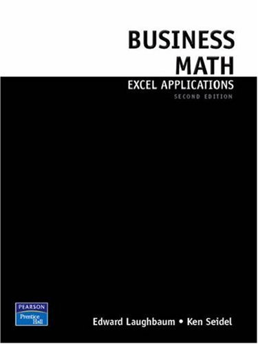 Business Math Excel Applications for Business Mathematics (2nd Edition)