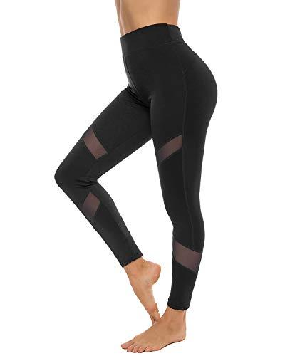 YOFIT Women Sports Mesh Gym Workout Leggings Fitness Capris Yoga Pants Trousers Black XL