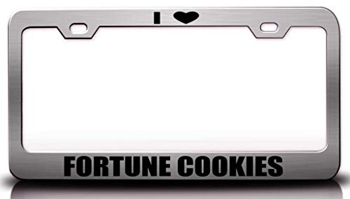 Custom Brother - I Love Fortune Cookies Food Vegetable Fruit Metal Car SUV Truck License Plate Frame Ch s67