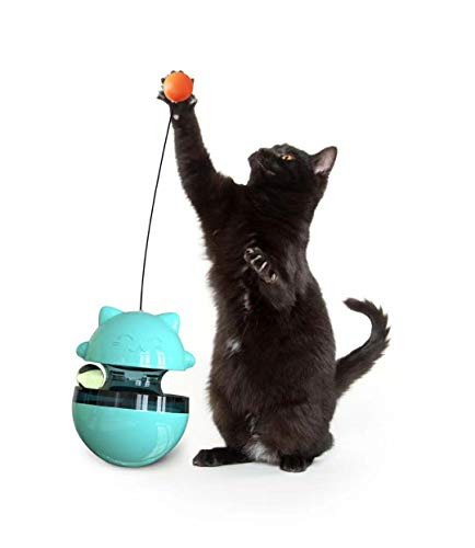 HFBBY Best Interactive Cat Toys Tumbler Leaking Food Ball with Teasing Wand,Slow Food Feeder Funny Cat Stick Toy for Cats Kitten Exercise Interactive Game .Size: 3.9 x4.9 inches