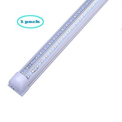 T8 LED Fixture, V-Shape Integrated, Clear Cover Cool White, LED Shop Light Fixtures, Ceiling Light(4ft 8ft)