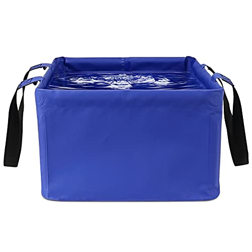 Idefair Opvouwbare wateremmer 15L, draagbare wasbak opvouwbare wateropslagcontainer inklapbare campingemmer voor buiten reizen wandelen vissen tuinieren auto wassen (donkerblauw)