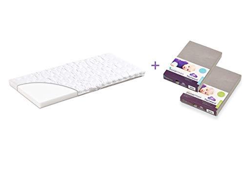 Träumeland A000066 Wiegenmatratze wash + 2 passende Spannbetttücher, mehrfarbig
