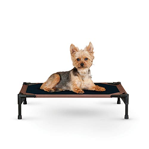 K&H PET PRODUCTS Original Pet Cot Elevated Dog Bed Chocolate/Black Mesh Small 17 X 22 X 7 Inches