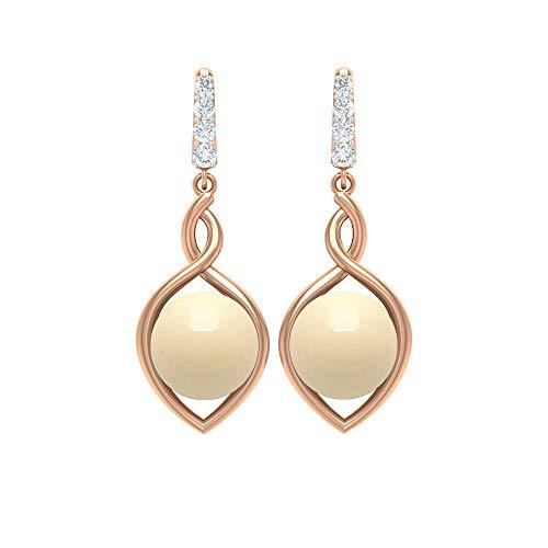 Pendientes de boda de 5,09 CT, perlas cultivadas japonesas, pendientes redondos de diamantes, pendientes colgantes de oro 18K Oro rosa, Par