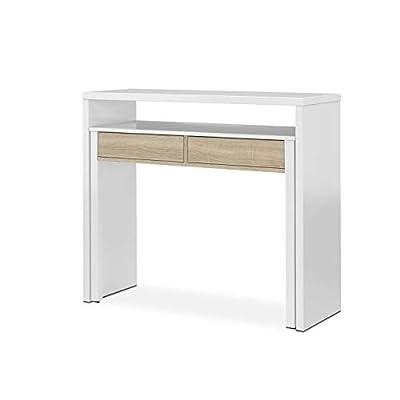 Medidas de la consola escritorio extensible: 98,5 cm (ancho) x 87,5 cm (alto) x 36 - 70 cm (fondo). Medidas interiores del escritorio: 84 cm (ancho) x 72 cm (alto). Distancia entre el tablero del escritorio y el sobre de la consola: 12,5 cm. Mueble m...
