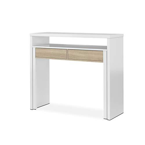 Habitdesign Mesa Escritorio Extensible, Mesa Estudio, Consola, Acabado en Color Roble Canadian y Blanco Artik, Medidas: 98,5 cm (Ancho) x 36-70 cm (Fondo) x 87,5 cm (Alto)