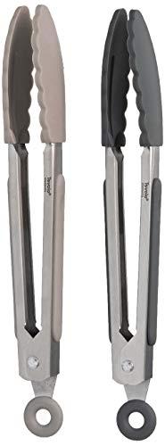 Tovolo Mini pinças de aço inoxidável para cozinha de cozinha, 18 cm com cabo de silicone e mecanismo de trava fácil para servir, salada e gelo, conjunto de 2, carvão e cinza quente