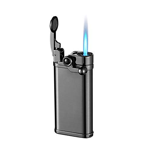 Torch Lighter Jet Flame Refillable Butane Windproof Portable Lighter with Adjustable Flame Dial Retro Rocker Arm Lighter Good for Cigar Cigarette Candle Pipe (Black)